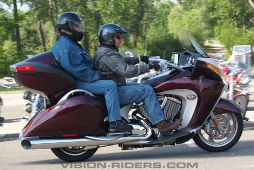 A couple on a Victory Vision Tour complete the first-ever public demo rides on the new Victory luxury-touring models.
